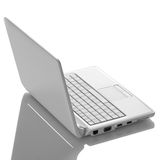 White open laptop with black screen Stock Images