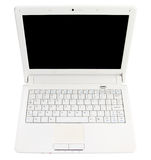 White open laptop with black screen Stock Photos