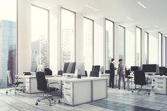 White open office, wall, corner toned Stock Images