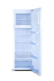 White open refrigerator isolated on white. Royalty Free Stock Images