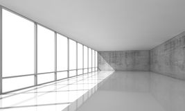 White open space interior with windows and gray walls, 3d Royalty Free Stock Photo