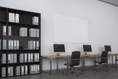 White open space office, bookcase Stock Image