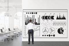 White open space office, businessman infographics Stock Photography