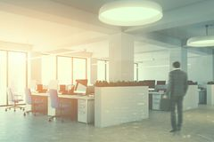 White open space office interior, man Stock Photography