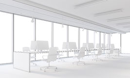 White and open space office. White office interior with panoramic windows and computers on desks. Concept of open space office. 3d rendering. Mock up Stock Images