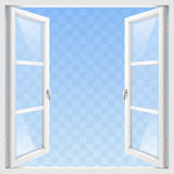White open window. White Classic wooden open window with transparent glass. Vector graphics royalty free illustration