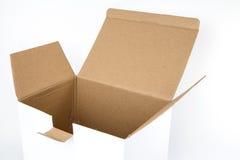 White opened cardboard box isolated on white Royalty Free Stock Image