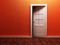 White opened door in the empty room Royalty Free Stock Image
