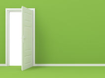 White Opened Door in Green Wall Stock Photos