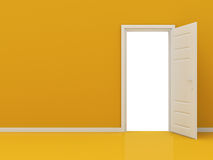 White Opened Door in Orange Wall Royalty Free Stock Photo