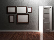 White opened doorand the picture Royalty Free Stock Image
