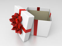 White opened giftbox with red ribbon. Inside box is covered by rough gray paper royalty free illustration