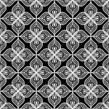 White openwork lace seamless pattern on black Stock Photo