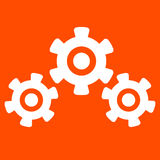 White on orange Cogs And Gears Stock Photo