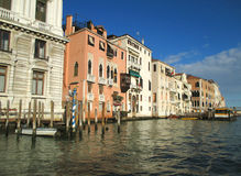 White and Orange Color Traditional Architecture against Sunny Blue Sky, Grand Canal, Venice Stock Image