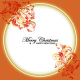 White and orange seamless border, Christmas design for greeting card and text. Vector illustration. Christmas greetings ornament elements hanging flower stock illustration