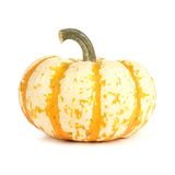 White and orange striped pumpkin over white Royalty Free Stock Images