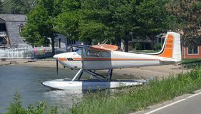 White and orange water plane stock photography