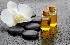 White orchid and black stones, bottles with oil. White orchid,black stones and bottles with oil on a drooping background Royalty Free Stock Photo