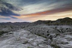 Badlands Landscape at Dusk. Badlands National Park in Utah South Dakota at dusk stock photo