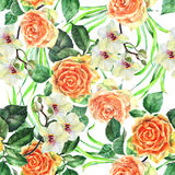 White orchid flower on a branch, orange rose,watercolor, bouquet, pattern seamless. White flower orchid branch  watercolor handmade  background  bouquet orange Royalty Free Stock Photo