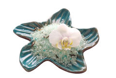 White orchid flower with mineral bath salt. White orchid flower with blue mineral bath salt Stock Image
