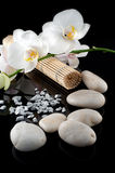 White orchid and stones. White orchid, stones, bamboo mate on black bacground, mirrored stock photos