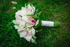 White orchids flowers wedding bouquet on the green grass Stock Images