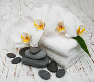 White orchids with massage stones Stock Images