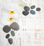 White orchids with massage stones Royalty Free Stock Image