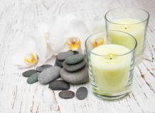White orchids with massage stones Stock Image