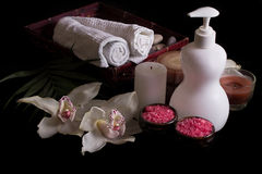 White orchids, spa treatment in wooden box Stock Photography