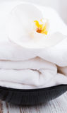 White orchids and towel Stock Photo