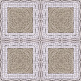 White organic cotton crochet lace background, backdrop for scrapbook, Christmas, yuletide, top view. Collage with mirror reflectio Royalty Free Stock Photography