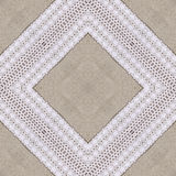 White organic cotton crochet lace background, backdrop for scrapbook, Christmas, yuletide, top view. Collage with mirror reflectio Stock Image