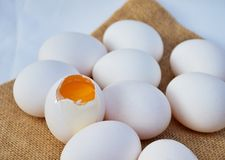 White organic eggs Royalty Free Stock Photos