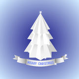 White origami Christmas Tree Royalty Free Stock Images
