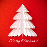 White origami Christmas tree vector greeting card. With red background pattern Stock Images