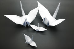 White origami crane, bird, paper Stock Photo