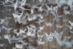 White Origami cranes Stock Photos