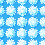 White Origami Floral seamless pattern on blue background. Paper cut flowers with leaves. Trendy Design Template Vector illustration Stock Photo