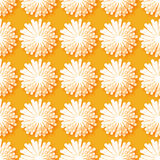 White Origami Floral seamless pattern on orange background. Paper cut flowers with leaves. Trendy Design Template Vector illustration Royalty Free Stock Photos