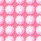 White Origami Floral seamless pattern on pink background. Paper cut flowers with leaves. Trendy Design Template Vector illustration Royalty Free Stock Image