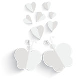 White origami Heart and butterfly isolated in white background. Stock Photo