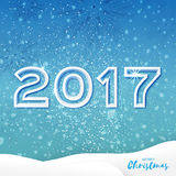 White Origami Merry Christmas Greeting card with Cutout Paper 2017. And landscape on blue background. Happy New Year holiday. Vector seasonal design Royalty Free Illustration