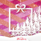 White Origami Merry Christmas Greeting card with Paper Xmas Tree. White Origami Merry Christmas Greeting card with Cutout Paper Xmas Tree and landscape on pink Royalty Free Stock Images