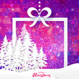 White Origami Merry Christmas Greeting card with Paper Xmas Tree. White Origami Merry Christmas Greeting card with Cutout Paper Xmas Tree and landscape on purple Royalty Free Stock Photography
