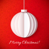 White origami paper vector Christmas ball Royalty Free Stock Photo