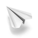 White origami plane. Flying origami plane made of white paper Royalty Free Stock Photography