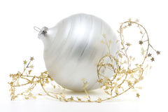 White Ornament. Beautiful white Christmas ornament with gold stars on a white background Stock Photos